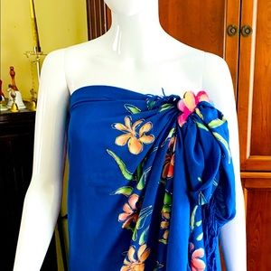 Cobalt blue rayon floral beach pareo cover-up